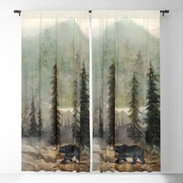 Mountain Black Bear Blackout Curtain