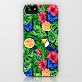 Toucan and tropical garden watercolor iPhone Case