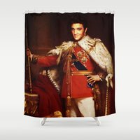 elvis presley Shower Curtains featuring The King  |  Elvis Presley by Silvio Ledbetter