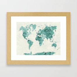 World map in watercolor green Framed Art Print
