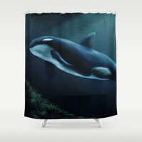 orca Shower Curtains featuring Orca by Wesley S Abney