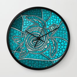 Turtle Aboriginal Dot Art Teal and silver Wall Clock
