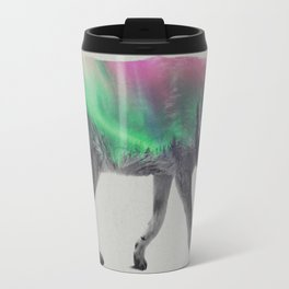 Wolf In The Aurora Borealis Travel Mug