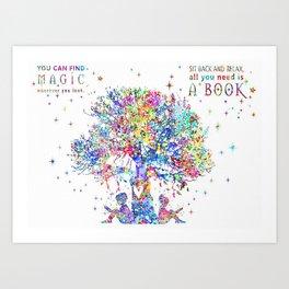 Kids Reading Under Tree Art Print