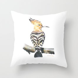 The Eurasian hoopoe (Upupa epops) Throw Pillow
