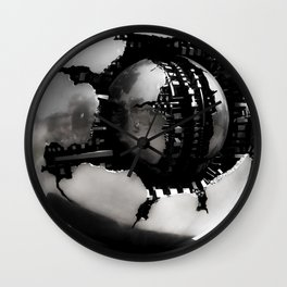 Vatican Sphere photography, Vatican Museum Travel to Italy, Abstract bronze sculpture travel phot Wall Clock