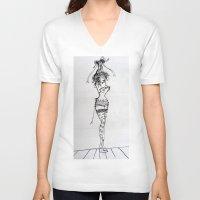 burlesque V-neck T-shirts featuring Burlesque by Frances Roughton