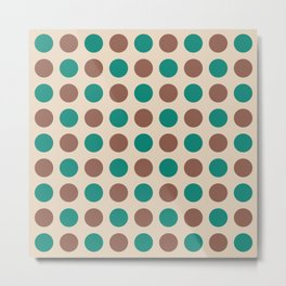 Mid Century Modern Polka Dots 935 Brown Beige and Green Metal Print