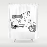 vespa Shower Curtains featuring Vespa by franzgoria