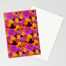 Colorful Flowers on Black Stationery Cards
