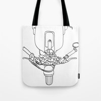 motorbike Tote Bags featuring Motorbike by Jessica Slater Design & Illustration