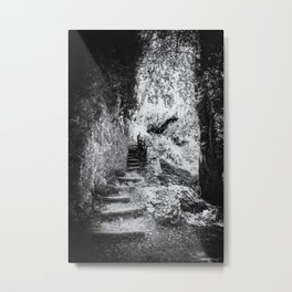 A little wooden old stairs in a dark forest | Crete, Greece, | Black & White | Nature & Travel Photography | Fine Art Photo Print Metal Print