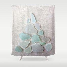 Sea Foam Sea Glass Christmas Tree #Christmas #seaglass Shower Curtain