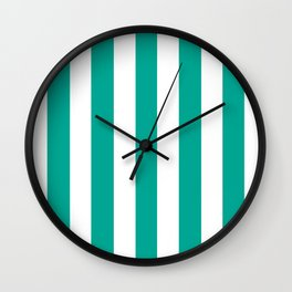 Persian green - solid color - white vertical lines pattern Wall Clock