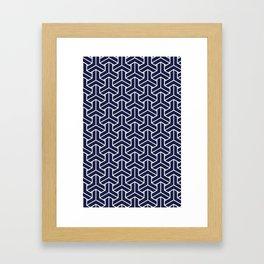 Japanese Yukata Jinbei Bishamon Navy pattern Framed Art Print