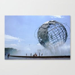 Kids Cooling Off at the Unisphere, New York City Canvas Print