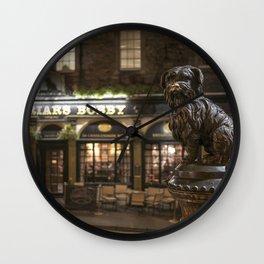 Bobby Greyfriars dog statue at night Edinburgh Scotland pub Wall Clock