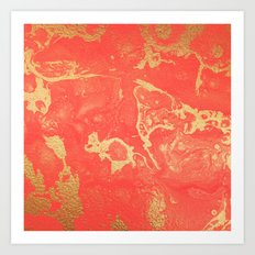Effect coral and gold marble Art Print