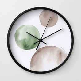 13 |181104 Australian Leaf Green & Brown Earth Orbs | Watercolour Circle Abstract Geometrical Wall Clock
