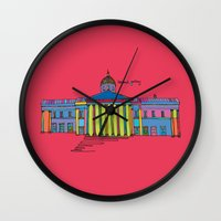 the national Wall Clocks featuring National gallery by PINT GRAPHICS