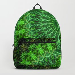 Detailed mandala in green color Backpack