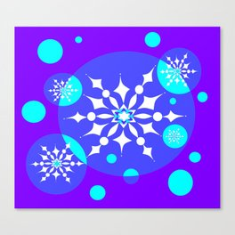 A Winter Snowy Design with Pretty Snowflakes Canvas Print