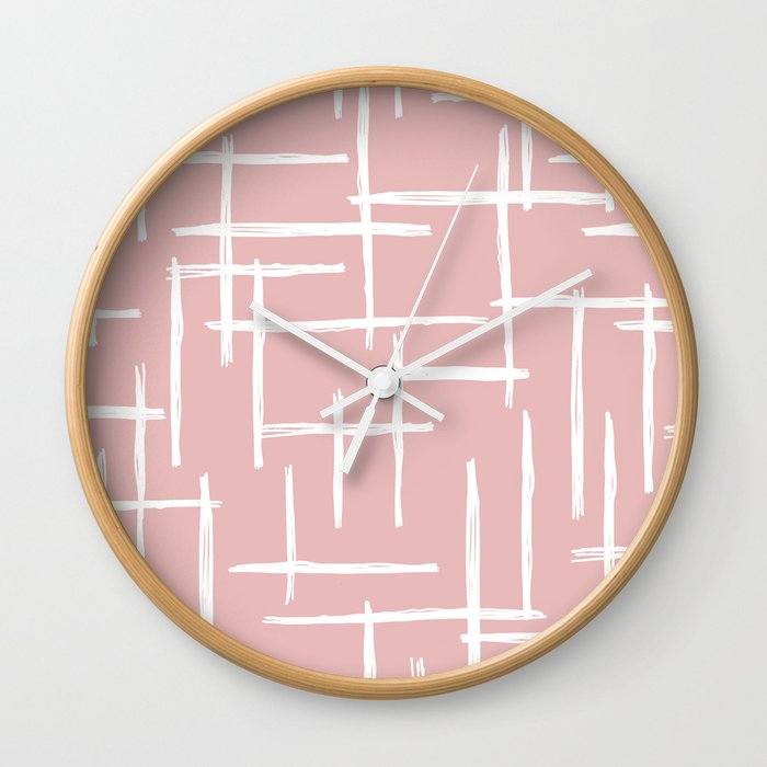 Soft Pink Abstract Strokes Grid Modern Minimal Style Pattern Design