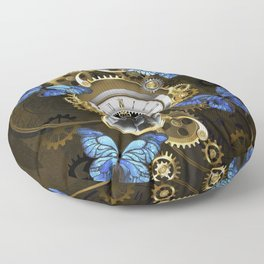 Steampunk Gears and Blue Butterflies Floor Pillow