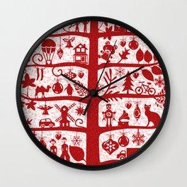 CHRISTMAS TREE red ITINERANT Wall Clock
