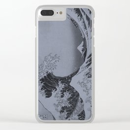 Silver Japanese Great Wave off Kanagawa by Hokusai Clear iPhone Case