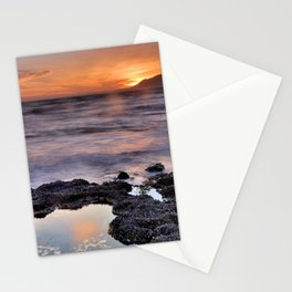 Red sunset. Mediteranean sea Stationery Cards