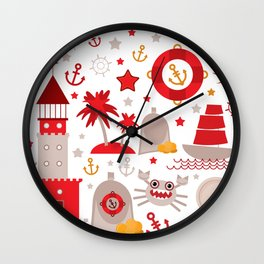 pattern with sea icons on white background. Seamless pattern. Red and gray Wall Clock