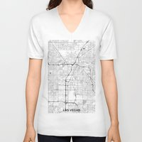las vegas V-neck T-shirts featuring Las Vegas Map Gray by City Art Posters
