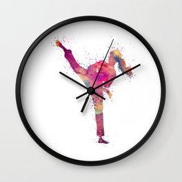 Karate Girl Colorful Watercolor Art Wall Clock