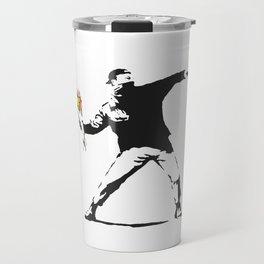 Love Is In The Air (Flower Thrower) - Banksy Graffiti Travel Mug