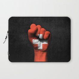 Swiss Flag on a Raised Clenched Fist Laptop Sleeve