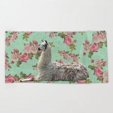 Floral Llama Beach Towel