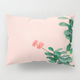 Floral photography print | Green on coral | Botanical photo art Pillow Sham