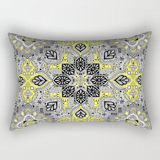 Boho Sunshine Medallion Pattern Rectangular Pillow