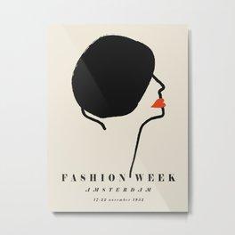 Poster-Faschion week-Amsterdam-black. Metal Print