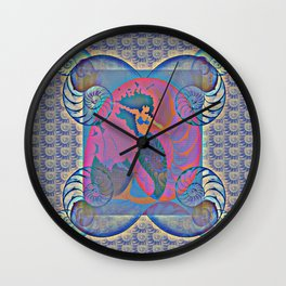 Mermaid Nautilus Shell Power Print 1 Wall Clock