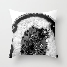 Gray Black White Agate Glitter Glamor #1 #gem #decor #art #society6 Throw Pillow