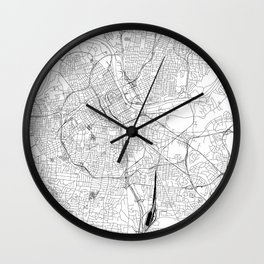 Nashville White Map Wall Clock