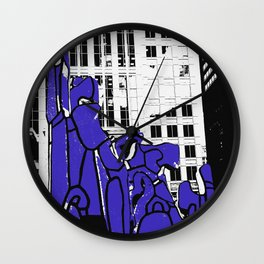 Chicago art print - art sculpture, 'Monument with Standing Beast' - urban photography Wall Clock