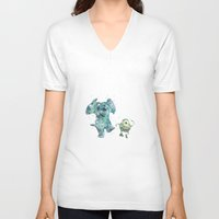 monsters inc V-neck T-shirts featuring Mike and Sully Monsters Inc. Disneys by Carma Zoe