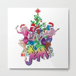 Jem and the Holograms Merry Christmas Retro Vintage Santa Hat Metal Print