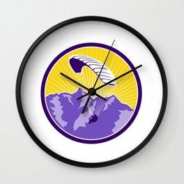 Paragliding Alps Mountains Circle Retro Wall Clock