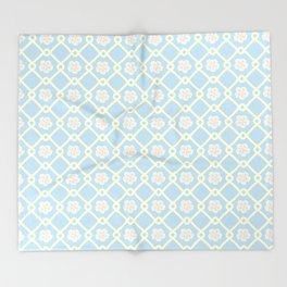 Retro style light blue flowers on a blue background Throw Blanket