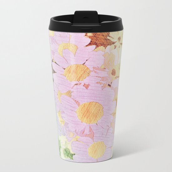 Pink Sorbet Chamomile Flowers Metal Travel Mug