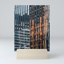 City Painting reflection on modern skyscrapers in Financial District Mini Art Print